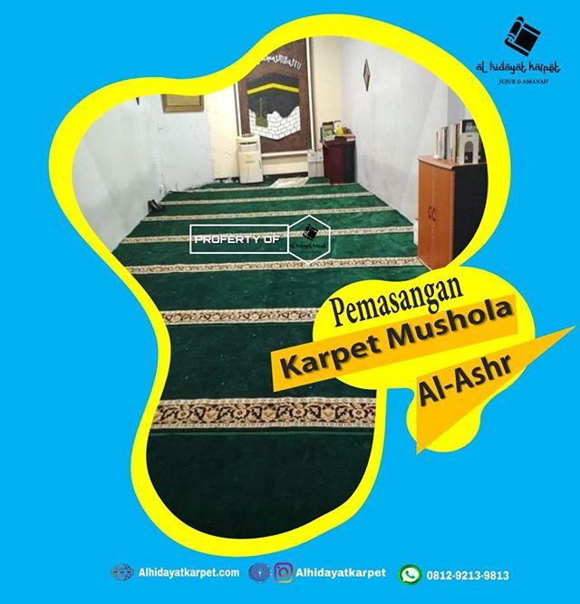 Hasil pemasangan karpet masjid di Mushola Al Ashr oleh tim Al Hidayat Karpet