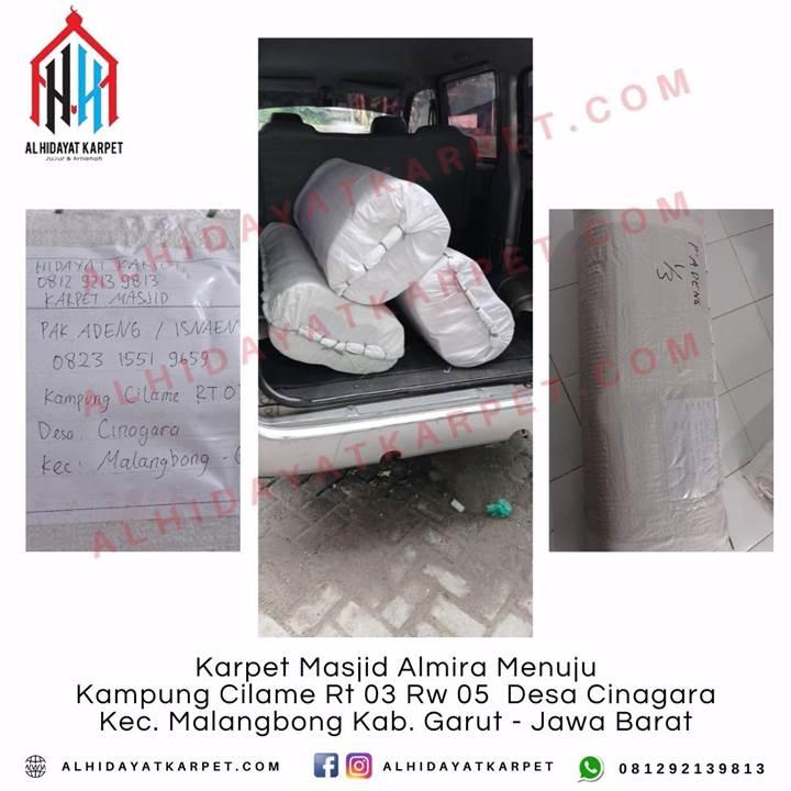 Pengiriman Karpet Masjid Almira Menuju kampung Cilame Rt 03 Rw 05 Desa Cinagara Kec. Malangbong Kab. Garut - Jawa Barat