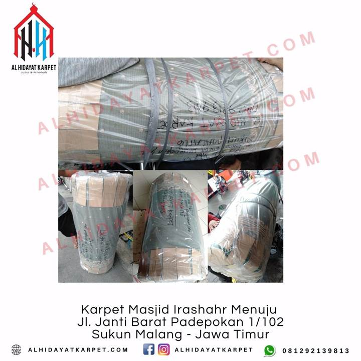 Pengiriman Karpet Masjid Irashahr Menuju Jl. Janti Barat Padepokan 1102 Sukun Malang - Jawa Timur
